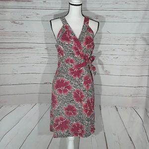 Wrap apron dress floral flowers Tommy Hilfiger Med
